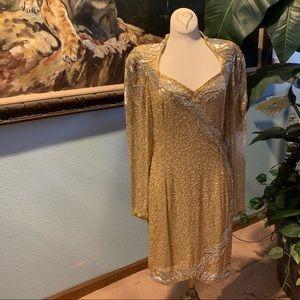 Oleg Cassini Gold Long Sleeve Sequin Dress